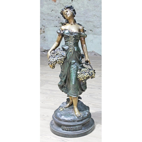 33 - A contemporary bronze figure depicting a country girl labelled 'Automne' and bearing signature and d...