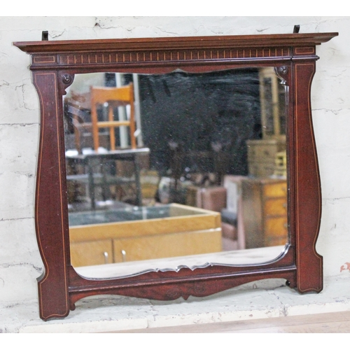 34 - An Edwardian mirror with inlaid mahogany frame, 58cm x 49cm....