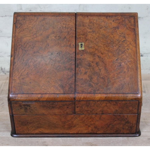 39 - A late 19th century walnut stationary box, height 29cm....