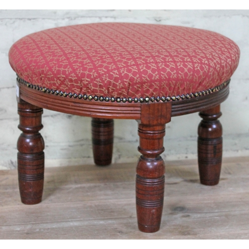 43 - A round oak stool with turned legs and upholstered top, height 35cm, diameter 49cm...