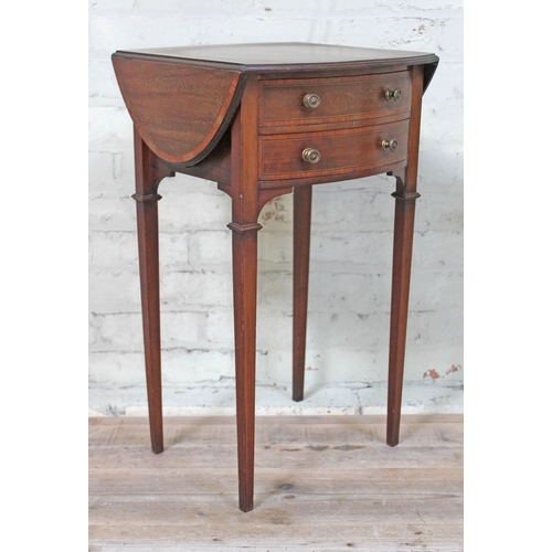 45 - A late Victorian mahogany inlaid 2 drawer side table with drop leafs and tapered legs, height 72cm, ...