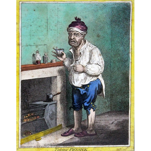 5 - A series of hand coloured engravings depicting medical scenes after James Gillray entitled 'Gentle E...