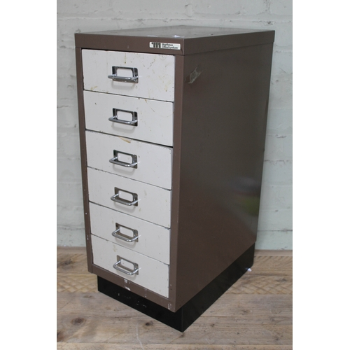 98 - A six tray cabinet containing watch and clock spares, repairs and tools....