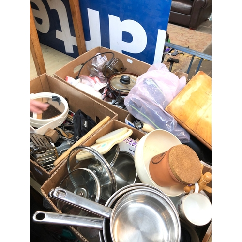 45 - 4 boxes of kitchen utensils and household items...