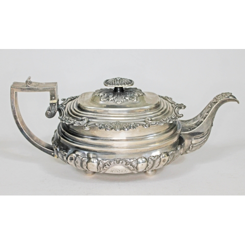 101 - A George IV late Regency three piece silver tea set, floral and shell scroll borders and handles, ga...