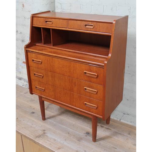 16 - A 1960s Danish style teak bureau, width 76cm, depth 36cm & height 99cm....