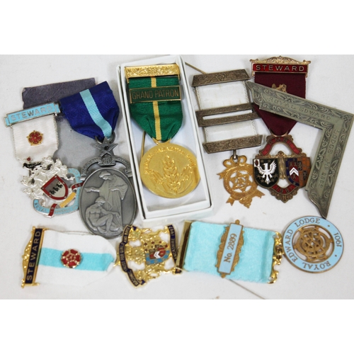 132 - A group of seven Masonic medals....