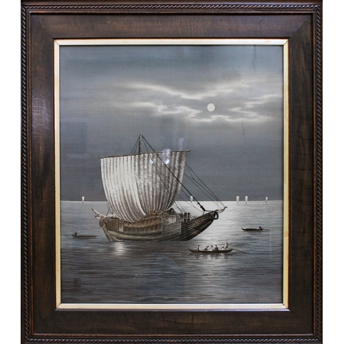 322 - A Chinese silk depicting a junk and smaller vessels at sea, 57cm x 52cm, seal mark lower left, oak f...