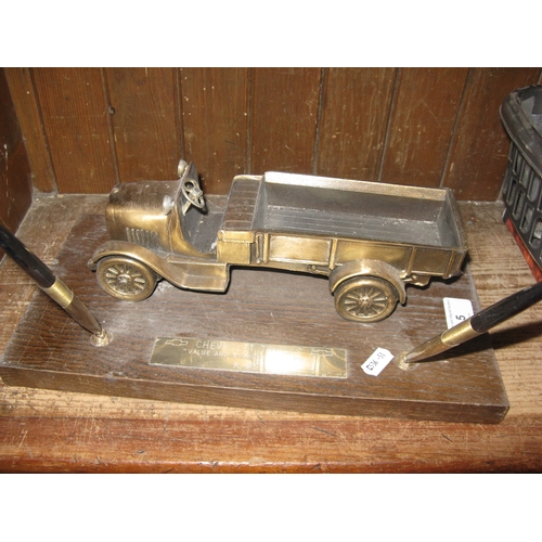 5 - Brass model car desk set...