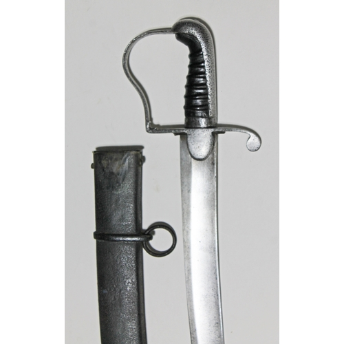 336 - A British 1796 pattern light cavalry sabre with scabbard, blade length 82cm....