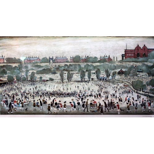 68 - After Laurence Stephen Lowry, Peel Park, limited edition colour print, 76cm x 38cm, blindstamp lower...