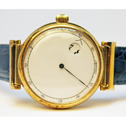 159 - A Pinko silver gilt wristwatch with blue crocodile leather strap, diam. 37mm....