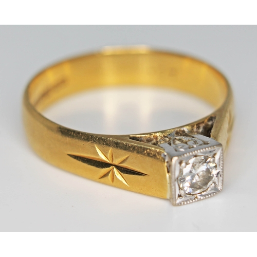 224 - A hallmarked 18ct gold diamond solitaire ring, gross wt. 4.4g, size P....