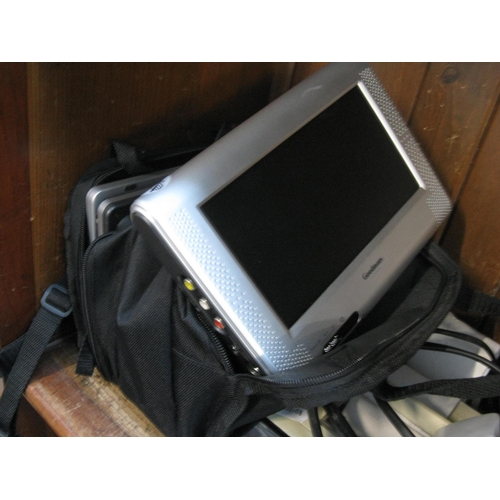 8 - A bag with pair of Goodmans portable DVD players...