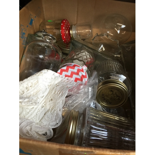 112 - A box of glassware to include jars...