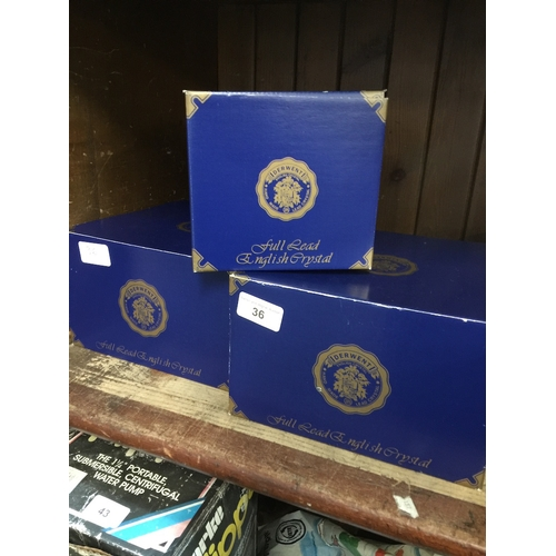 36 - 3 boxed sets of glasses...