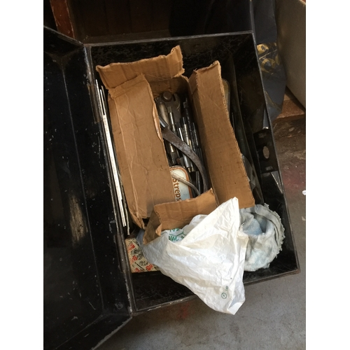 46 - A tin box containing engineering tools etc...