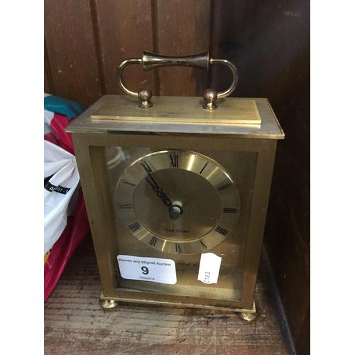 9 - A brass carriage clock...