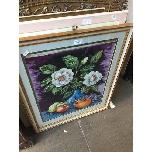 991 - Cross stitch picture and a print...