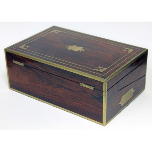 1 - A fine quality Regency rosewood writing slope circa 1820, brass inlaid and strung, campaign style in...