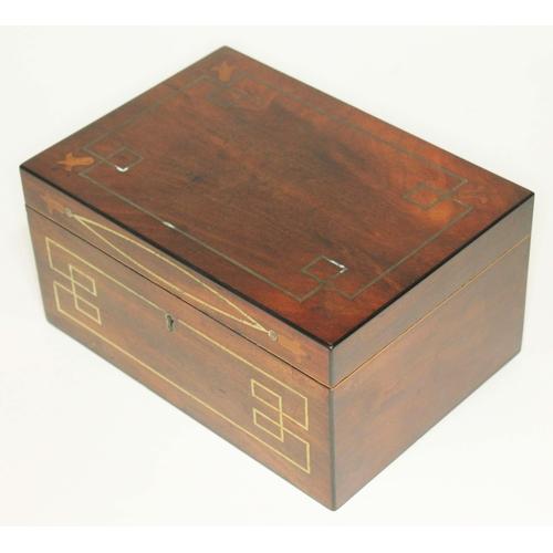 10 - A Georgian brass inlaid mahogany work box, length 24cm....