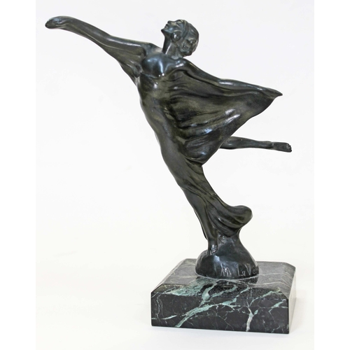 20 - An Art Deco bronze figure or car mascot by Max Le Verrier, depicting a semi nude female dancer on ma...