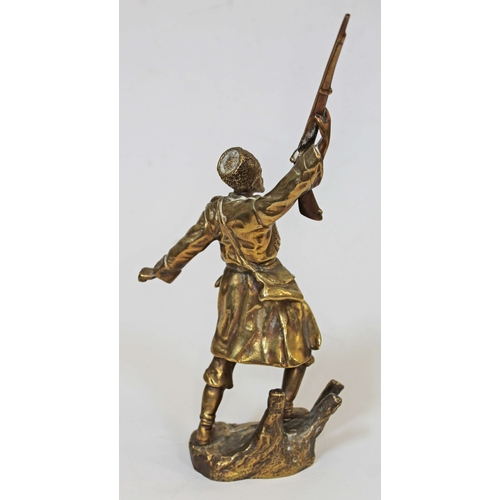 26 - A gilt bronze figure depicting a soldier after Georges Omerth (1895-1925), signed 'G Omerth' and lab...