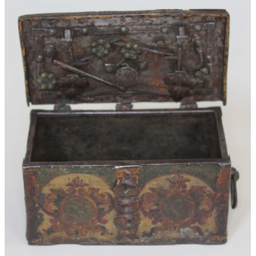 27 - A 17th century painted iron casket, probably south German, riveted iron construction with Armorial d...
