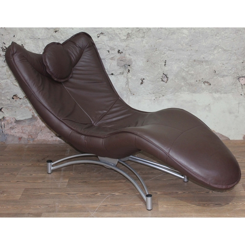 38 - A De Sede DS151 style brown leather chaise longue with metal base, length 160cm....