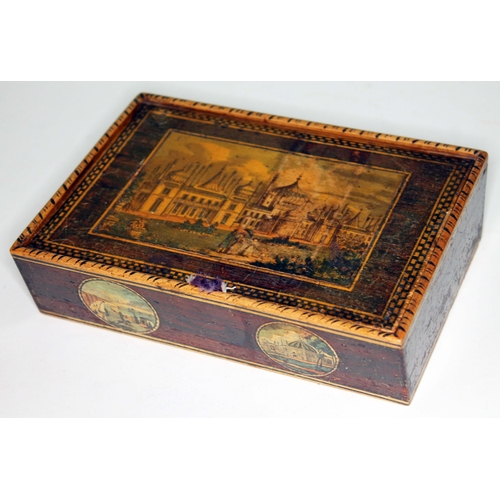 4 - A 19th sewing box, the top with applied scene depicting Brighton Pavilion, the front with two scenes...