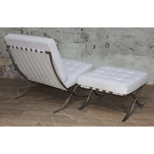 47 - A cream leather and polished steel Barcelona chair and matching stool after the original design by L...