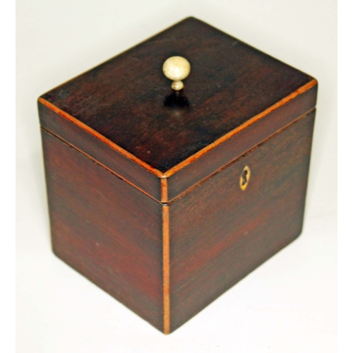 5 - A Georgian mahogany, boxwood strung with turned bone finial, height 13cm....