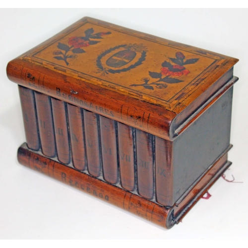 6 - A 19th century mixed wood Sorrento type puzzle box, the top decorated with Buenos Aires provincial c...