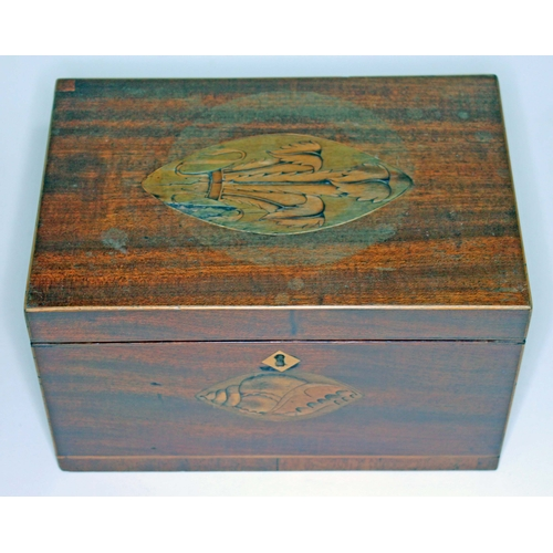 7 - A 19th century mahogany box, boxwood strung and inlaid with Prince of Wales feathers to top and shel...