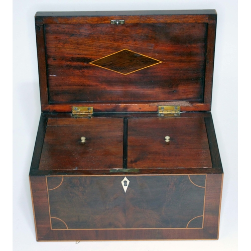 9 - A Georgian mahogany tea caddy, boxwood strung, ivory escutcheon and two interior compartments with t...
