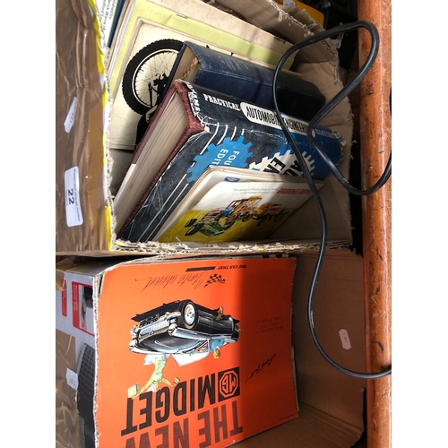 22 - 2 boxes of automobilia books and pamphlets...
