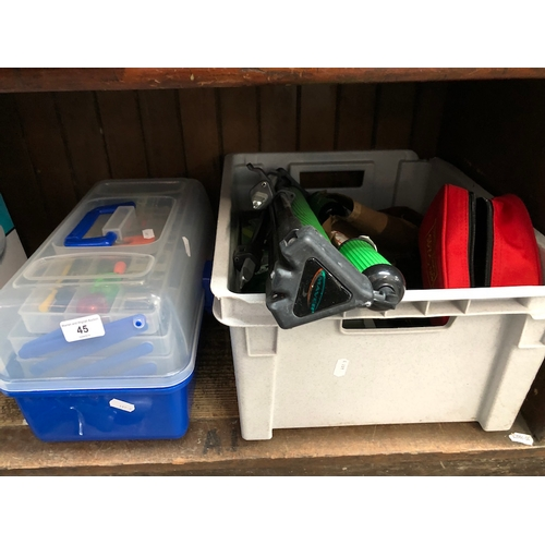 45 - A plastic crate and a cantilevered plastic box containing misc fishing tackle, penknife, tripod, ree...