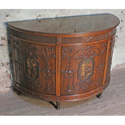 1 - A good quality Edwardian Adam revival demi-lune mahogany side cabinet with three painted panels depi...