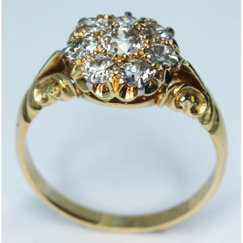 101 - A late Victorian diamond cluster ring featuring eight old cut diamonds, cluster diam. 10mm, hallmark...