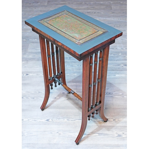 32 - A Regency and later mahogany side table with pierced brass inlaid top, turned supports and splayed l...