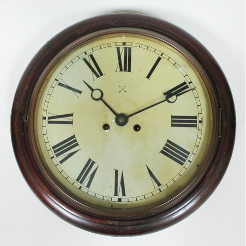 38 - A 19th century round wall clock, diam. 43cm....