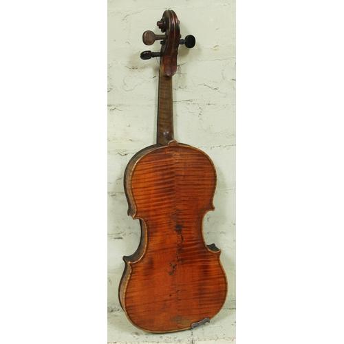 43 - A late 19th century violin bearing label 'Antonius Stradiuarius Cremonensis Faciebat Anno 1713', len...
