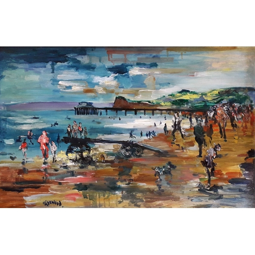 53 - James Lawrence Isherwood (1917-1989), Teignmouth Beach, oil on board, 77cm x 48cm, titled verso, mod...