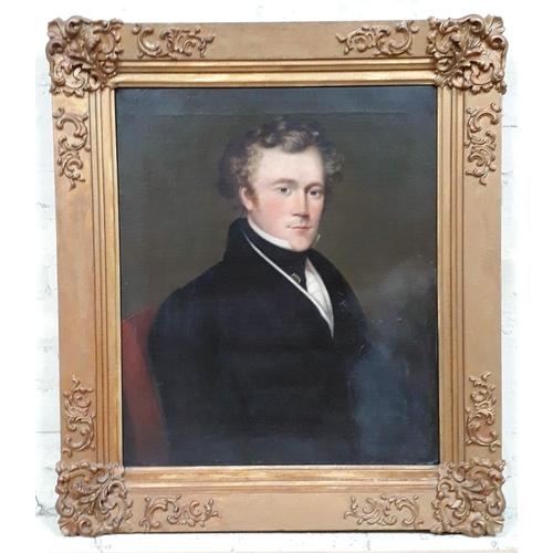 43 - J Collins (19th century), mid length portrait of a gentleman, oil on canvas, 62cm x 73cm, signed 'J ...