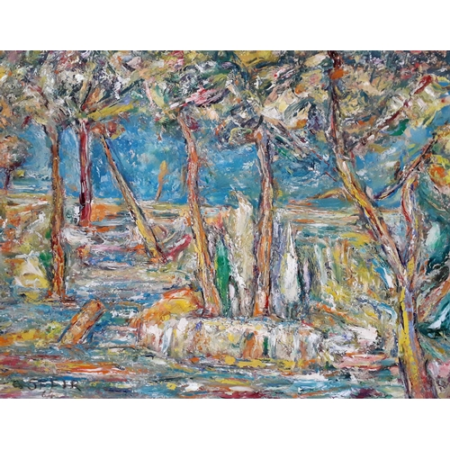 47 - Jean-Cesar Sfeir (Lebanese 1898-1973), forest landscape, oil on board, 81cm x 65cm, signed 'C Sfeir'...
