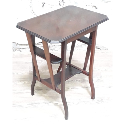 28 - An Edwardian Arts & Crafts mahogany table with tapered side supports and lower tier, width 61cm, dep...
