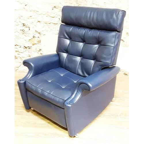 32 - A Parker Knoll blue rexene button back reclining armchair, width 90cm, depth 93cm & height 102cm. (T...