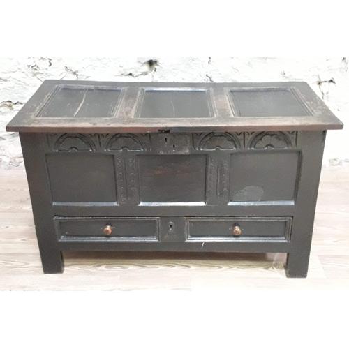 34 - An oak mule chest circa 1700, length 122cm, depth 57cm & height 71cm....