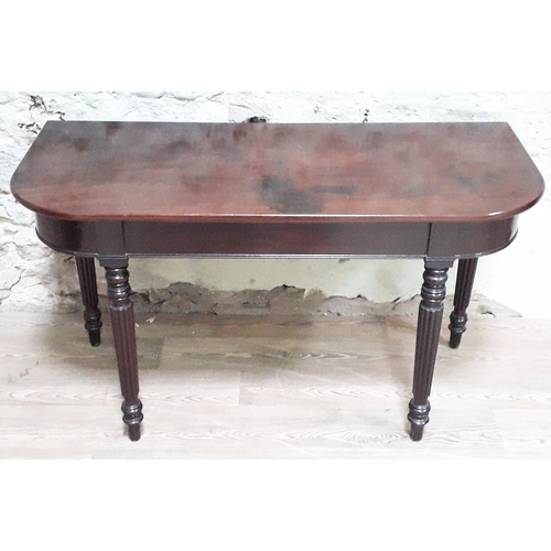 38 - A Regency mahogany D end table in the manner of Gillows with reeded legs, width 127cm, depth 56cm & ...