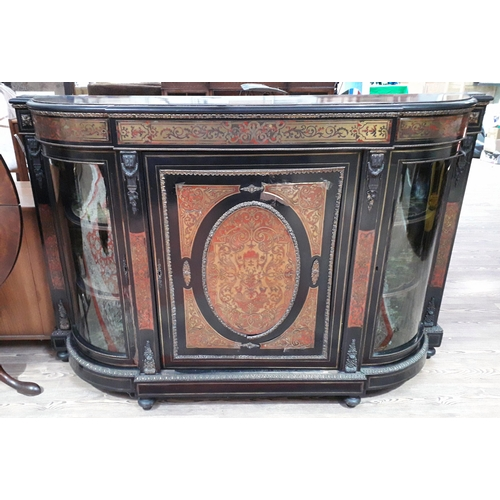31 - A Victorian ebonised, boulle work and gilt metal mounted credenza, length 165cm, depth 39cm, height ...